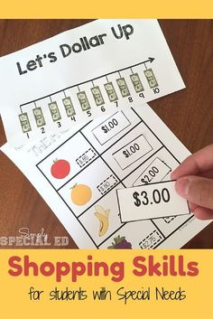 Dollar Up Diner Dollar Up Diner,TEACCH Are you teaching shopping life skills to your students with special needs? Here's everything you need for the dollar up method! Life Skills Lessons, Life Skills Activities, Life Skills Classroom, Teaching Life Skills, Math Resources, Math Activities, Autism Classroom, School Resources, Teaching Tips