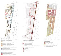 Machleidt, sianai & performative architektur (2015): Rahmenplan Zukunft Nord, Karlsruhe (DE), via competitionline.com Architecture Design, Cultural Architecture, Landscape Diagram, Landscape Steps, Urban Analysis, Site Analysis, Architecture Foundation, Urban Ideas, Planer Layout