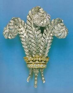 Wallis POW Feathers, featuring: The Gold and Diamond Prince of Wales Brooch.