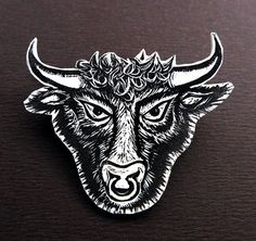 Check out this item in my Etsy shop https://www.etsy.com/uk/listing/237055789/bull-head-brooch-minotaur-pin-badge