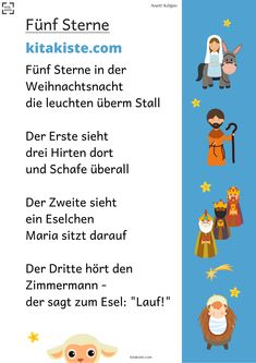 """""""Fünf Sterne"""" – Fingerspiel Finger play for Christmas – with shepherds, sheep, Maria & Joseph, the 3 kings and the baby Jesus Thema Winter Im Kindergarten, Finger Games, Christmas Poems, Diy Crafts To Do, Finger Plays, Braided Half Up, Social Trends, Photo Search, Winter Beauty"""