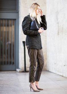leather pants tweed coat street style