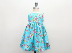 Aqua Blue Floral Print Dress - Whimsical - Party Dress - Birthday Dress - Easter Dress - Girls Boutique Dress