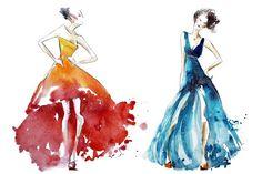 watercolor dresses, fashion by Kamenuka on @creativemarket