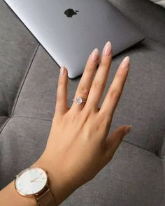 Timeless gemstone jewelry by Moon Magic. Summer Acrylic Nails, Pastel Nails, Manicure Y Pedicure, Funky Nails, Oval Nails, Minimalist Nails, French Tip Nails, Classy Nails, Nagel Gel