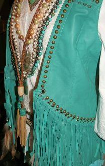 Double D Turquoise Studded Fringe Vest