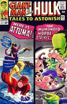 Marvel - Giant Man - Incredible Hulk - Attuma - The Humanoid Horde Strikes - Jack Kirby Hulk Comic, Hulk Marvel, Marvel Comic Books, Comic Books Art, Avengers, Book Art, Comic Superheroes, Marvel Characters, Spiderman