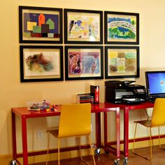 Using floating frames to display kids' artwork.  A bit pricey, but pretty!