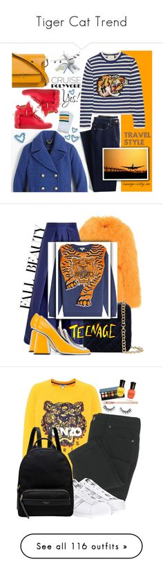 """""""Tiger Cat Trend"""" by yours-styling-best-friend ❤ liked on Polyvore featuring girl, animalprint, tiger, safary, J.Crew, Lands' End, Gucci, BUSCEMI, Marni and Saks Potts"""
