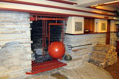 PA - Mill Run: Fallingwater - Living room fireplace and kettle Falling Water Frank Lloyd Wright, Frank Lloyd Wright Homes, Study Architecture, Historical Architecture, Fallingwater Interior, Wedding Art, Wedding Reception, Family Room Design, Living Room With Fireplace