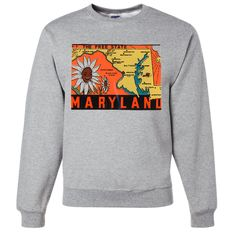 Vintage State Sticker Maryland Crewneck Sweatshirt