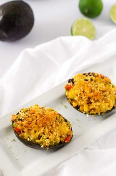 Cheesy Black Bean & Quinoa Stuffed Avocados
