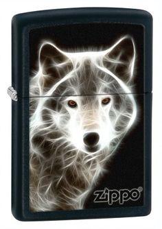 Zippo Lighter White Wolf Black Matte - Zippo 28303