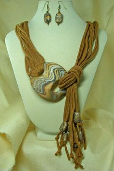 TShirt Necklace  with Polymer Clay Clasp and Matching Earrings. $30.00, via Etsy.