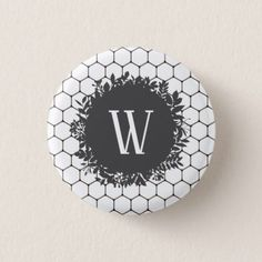 Black and White Beehive Pattern with Monogram Pinback Button - black gifts unique cool diy customize personalize