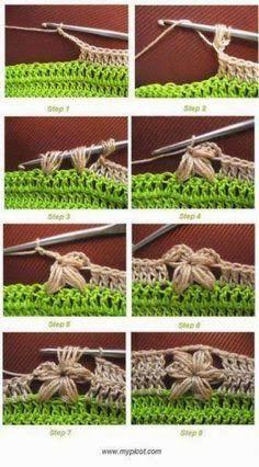 The not so easy flower stitch, made easy ♪ ♪ inspiration ♥ crochet diy GB :) Crochet Diy, Crochet Motifs, Crochet Borders, Crochet Stitches Patterns, Love Crochet, Learn To Crochet, Crochet Crafts, Crochet Flowers, Crochet Projects