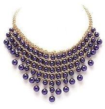 multi strand purple statement necklace