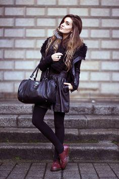 Storets Jacket, Viparo Skirt, Dr. Martens Shoes, Vj Style Bag