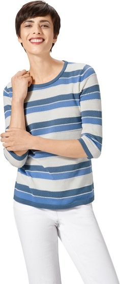 Pullover im schön gestaltetem Streifendessin ab 27,99€. Flotter Pullover, Polyacryl, Figurumschmeichelnde Form, 3/4-lange Ärmel bei OTTO