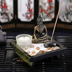 Mini Zen Rock Garden with Buddha Statue Incense and Tealight Candle Holder  MyGift >>> Visit the image link more details. (This is an affiliate link and I receive a commission for the sales)