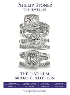 The Platinum Bridal Collection, diamond engagement rings available at Phillip Stoner the Jeweller.