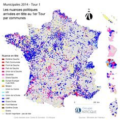 Municipales 2014 : carte des nuances politiques en tête au 1er tour