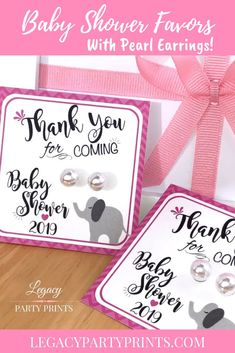 Elephant Pink Baby Shower Favors With White Pearl Earrings Bridal Shower Favors, Baby Shower Invitations, Baby Shower Parties, Baby Shower Gifts, Shower Party, Unique Party Favors, Unique Baby Shower, Pink Elephant, Birthday Party Favors