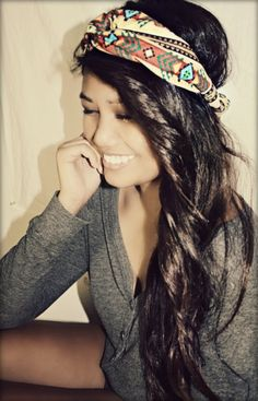 Omggg If I had long hair like this I would totally wear my bandannas like this all the time lol