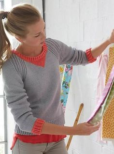 Free Knitting Pattern for Journey Pullover - Schachenmayr's sweater features three-quarter sleeves, ribbed shoulders and contrasting cuffs and neckline. Sizes: XS, S, M, L, XL