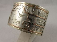 Antique 'Day & Night' Silver & Rose Gold Wide Cuff Bangle from blackwicks on Ruby Lane