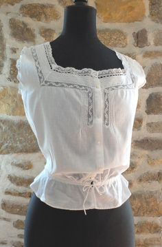 White cotton, valenciennes lace trimmed cache corset, camisole, cotton lingerie, ladies top with ribbon trim  Ask a Question $50.35