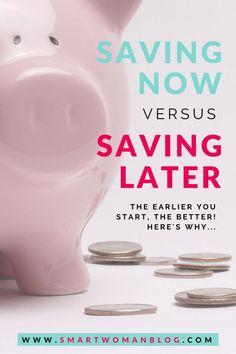 Saving Early versus Later – Finance tips, saving money, budgeting planner Best Money Saving Tips, Ways To Save Money, Money Tips, Saving Money, Money Hacks, Investing Money, Frugal Living Tips, Frugal Tips, Savings Planner