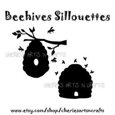 Beehive Silhouettes, Silhouettes, Bees, Beehive Clipart, Beehive Graphics, Bee Clipart, Bee Graphic,