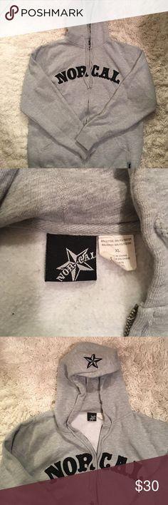 Men's Gray NorCal zip up hooded Sweatshirt Good condition. Men's Size XL Sweaters