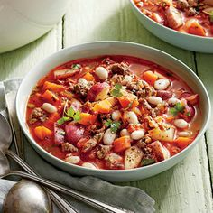 White Bean and Chorizo Soup   MyRecipes.com Fresh chorizo sausage gives this soup its vibrant red-orange hue and fiery flavor.