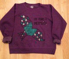 "Sparkle ""I'm really a mermaid"" fleece sweatshirt jumper top shirt sz small on Etsy, $35.00"