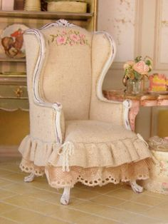 Stenciled burlap shabby chic wingback chair