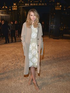 Suki Waterhouse in a Burberry Prorsum jacket and dress at the Burberry 'London In Los Angeles' Event
