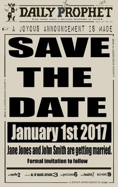 Harry Potter Daily Prophet Save the Date Wedding by Bluemagpies