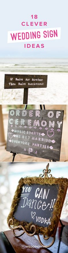 18 Clever Wedding Sign Ideas - Funny wedding sign ideas to make your guests laugh out loud! See more on @weddingwire. {Alena Bakutis Photography; Dan & Erin PhotoCinema; William Innes Photography}