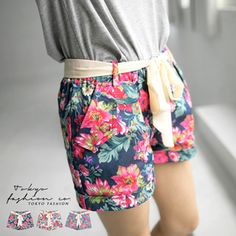 CliPick 的東京著衣 的桃紅花卉絲巾反折棉短褲 http://www.clipick.com/item?sid=139389