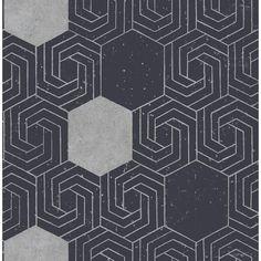 A-Street Momentum Navy (Blue) Geometric Wallpaper Sample