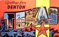 Greetings from Denton Texas postcard