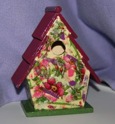 Whimsical Bird Houses   This birdhouse is painted and decoupage. It is finished for outside ...