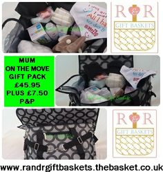 http://randrgiftbaskets.thebasket.co.uk/store/products/mum-on-the-move-travel-bundle/   MUM ON THE MOVE GIFT PACKAGE £45.95 plus £7.50 carriage to mainland UK (Ex Scottish Highlands)