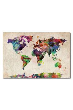 DIY World Map Wall Art | ... Tompsett 'Urban Watercolor World Map' ... | DIY: Stolen Inspi