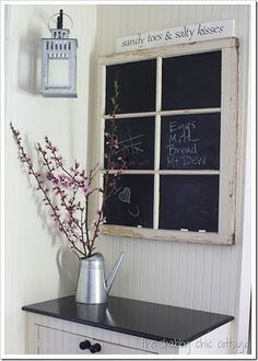 old window chalk board