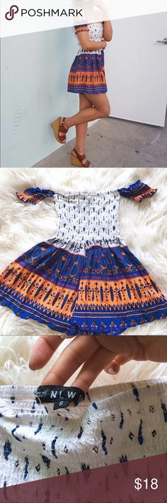 Choies Clothing off shoulder Romper Multi S $29 Choies Clothing off shoulder Romper   Condition: Like new Color: Multi/Orange/Blue/White Retail Price US$29  Super stretchy and cute! Would fit both sizes of XS and S!  Listed under Urban Outfitters just for more exposure(: Urban Outfitters Pants Jumpsuits & Rompers
