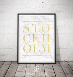 Sono felice di condividere l'ultimo arrivato nel mio negozio: Stockholm Printable, Stockholm Print, Gold and White, Typography Poster, Modern Print, Minimal Print, Scandinavian Nordic Print, Marble Art
