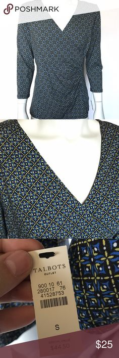 Talbots long sleeve blouse This multicolored shirt is brand new with tags! Black, blue, yellow, and white patterned top is stretchy and so soft. Wrap style v-neck shirt with ruching to one side. Three quarter length sleeves. So comfortable and stylish! Talbots Tops Blouses